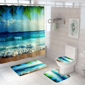 Sea Wave Shower Curtain Bathroom Rug Set Bath Mat Non-Slip Toilet Lid Cover
