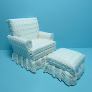Dollhouse Miniature Living Room Club Chair And Ottoman in White T6665