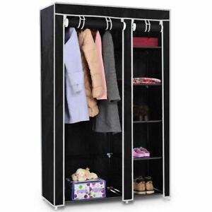 "Durable 69"" Portable Closet Storage Organizer Clothes Wardrobe-Black"