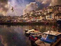 Photography Cityscape Brixham Devon Harbour Boats Canvas Art Print