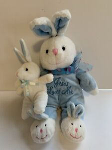 Dan Dee Baby Blue Bunny white Plush musical Jesus Loves Me Lovey Slippers Bow