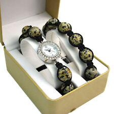 ECHO' Beautiful Dalmatian Jasper Shamballa Style Watch and Bracelet Set no.2