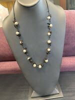 "Vintage Stone And gold freshwater pearl Beaded 22"" Hand Made Bohemian Necklace"