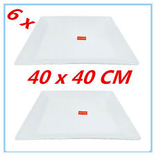 6PK GLOSSY WHITE MELAMINE SERVING TRAY SQUARE PLATTER CATERING TRAYS  40X40CM FD
