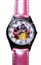 Disney's SNOW WHITE And The DWARFS Pink Genuine Leather Band Wrist WATCH