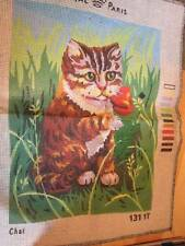 Royal Paris Chat/Cat Needlepoint Canvas #131 17-Started -8.5x11.5 Inches