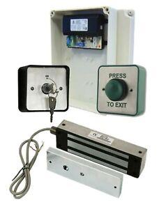 Gate Access Control Kit, WEATHERPROOF Power Supply, Maglock, Pass Switch