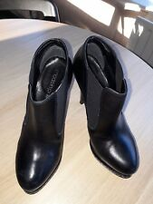 Mode In Pelle Beautiful Black Leather Platform Ankle Boots 37