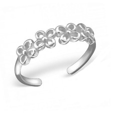 A lovely Delicate Genuine Sterling Silver Adjustable Open Flower Band Toe Ring