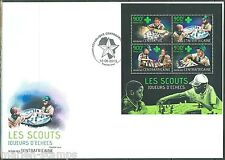CENTRAL AFRICA  2013 BOY SCOUTS PLAYING CHESS SHEET FIRST DAY COVER