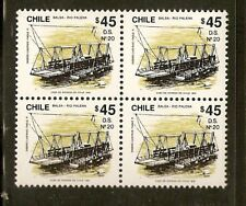 CHILE 1991 STAMP # 1376 MNH BLOCK OF FOUR BALSA WOOD