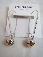 Kenneth Cole silver tone~gold & silver pave crystal ball drop earrings, NWT
