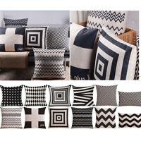 "18*18"" Black & White Geometric Patterns Sofa Throw Cushion Cover Pillow Case"