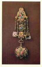 Postcard art jewelry antique porcelain chased gold watch paited in enamel colour