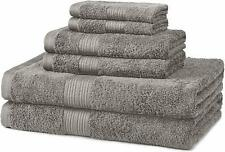 New 6-Piece Fade-Resistant Bath Towel Set - 100% cotton - Grey Free Shipping