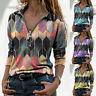 Women Fashion Printed T-shirt V-neck Long Sleeve Zipper Casual Loose Blouse Tops