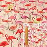 PINK ORANGE Meter/Fat Quarter/FQ Cotton Canvas Fabric Sew Craft Birds Flamingo
