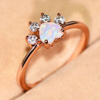 Heart Cut White Fire Opal Ring Rose Gold Cute Dog Paw Footprint Wedding Bands