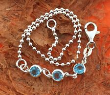Anklet with Blue Cz stones -Sterling Silver- Beach,Summer,Cute,Ankle,Gift Idea