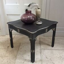 Black Gold Painted Vintage Coffee Occasional Table French Decadent Empire Style