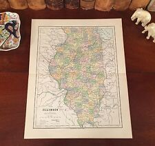 Original 1885 Antique Map ILLINOIS Sterling Galesburg Freeport Lincoln Kankakee