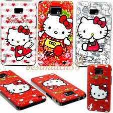 FOR SAMSUNG GALAXY S2 cute kitten hello kitty heart hot pink white i9100 / i777