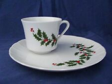 SET OF 4 CHRISTMAS CANAPE PLATES & TEA CUPS  - ADORABLE & SO FESTIVE