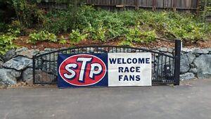 VINTAGE NASCAR INDY STP WELCOME RACE FANS - ADVERTISING - BANNER SIGN MAN CAVE