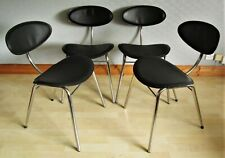 Set of 4 ARRBEN of Italy Regina Leather & Chrome Side Dining Chairs
