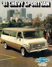 CHEVROLET sportvan 1981 USA delle vendite sul mercato opuscolo G10 G20 G30 SPORT Nomad