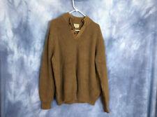 LL Bean Brown Pullover Sweater XL Cotton Button Collar Jumper