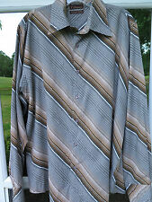 7 Diamonds Men's Long Sleeve Brown Gray Diagonally Striped Casual Shirt Medium