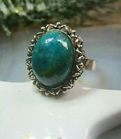 dekorativer trachten? ring silber 925 mit meergrünblauem achat 17mm vintage