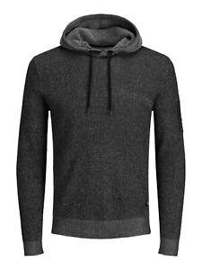JACK & JONES Badge Knit Strick-Hoodie Leichte Struktur Kapuzen-Sweatshirt