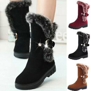 WOMEN LADIES WINTER MID CALF SNOW BOOTS FUR WARM FLAT GRIP SOLE BOOTS SHOES SIZE