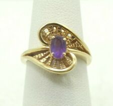 14K Yellow Gold Oval Amethyst Textured Bypass Ring Size 6 3.6g D754