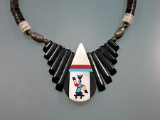 """ZUNI Handmade Indian 925 Sterling Silver Multi Stone Inlay Heishi Necklace 22"""""""
