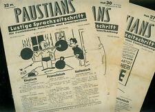 3 QUADERNI paustians divertenti rivista linguistiche 1940 inglese francese Italia.
