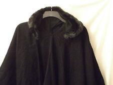 ladies black knitted shawl with faux fur trim hood