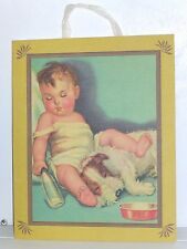 """Napping Pals"", Baby & Pup 10 1/2"" x 13"" Linen Wall Art, Terra Traditions, Usa"