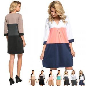 Zeta Ville - Women's Shift Dress Colourblock - Keyhole detail and Pockets - 303z
