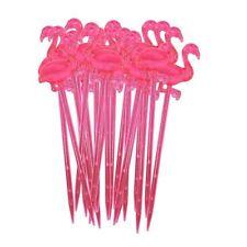 4pk of 12 Flamingo Cocktail Sticks Novelty Hawaiian Hen Party Accessory