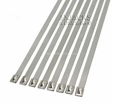 25 MONSTER WIDE SS STAINLESS STEEL CABLE ZIP TIES EXHAUST WRAP SELF LOCKING NEW