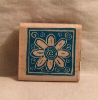 Inkadinkado Solid Square Flower 8114-K Rubber Stamp Wood