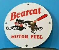 VINTAGE BEARCAT GASOLINE PORCELAIN MOTOR FUEL SERVICE STATION PUMP PLATE SIGN