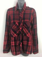 WOMENS ZARA WOMAN RED & NAVY BLUE CHECK POPPERS LONG SLEEVE SHIRT BLOUSE MEDIUM