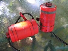 2 VINTAGE RED METAL GAS,FUEL TANKS,TRACTOR,RIDING LAWN MOWER,ETC.