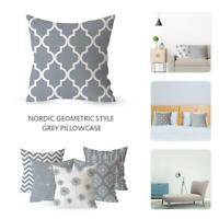 18*18Inch Gray Geometric Decorative Cushion Cover Polyester Pillowcase Sofa Home
