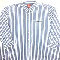 RM Williams Mens Devonport Long Sleeve Button Up Shirt Blue Stripe Size 5XB New