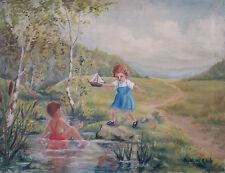Encantador antiguo Pintura al óleo: Jugando Chica la mayor parte Bach. Firmado
